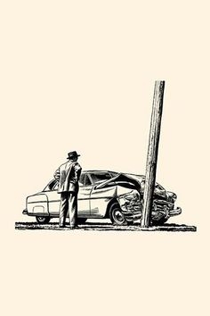 A man looks at his car smashed against a telephone pole.