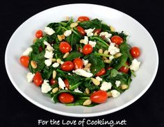 For the Love of Cooking » Spinach Sauté with Grape Tomatoes, Feta Cheese, and Toasted Pine Nuts