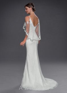 Shop Azazie Wedding Dress - Azazie Phoenix BG in Chiffon and Tulle and Charmeuse and Lace. Find the perfect wedding dress for your big day. Available in full size range and in custom sizing at Azazie. Wedding Dress Capelet, Wedding Dress Quiz, Budget Wedding Dress, Rental Wedding Dresses, Wedding Frocks, Elegant Wedding Gowns, Wedding Dress Boutiques, Custom Wedding Dress, Luxury Wedding Dress