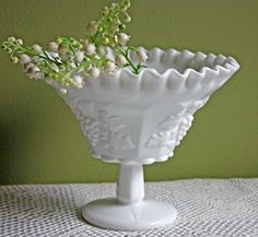 Westmoreland Footed Bowl or Vase.  Milk Glass Grapevine Design Vase with Ruffled Rim.  Collectible Vase for Home or Wedding Decor. by AnythingDiscovered on Etsy