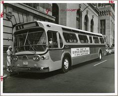 Baltimore City Transit Company bus Light Street and Redwood Street, Baltimore, Maryland 1964