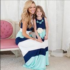 family matching mother daughter dresses clothes striped mom and daughter dress kids parent child outfits