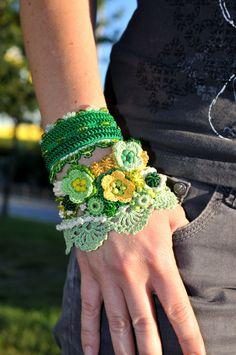 Green Yellow Creme crochet bracelet. Handmade by KaterinaDimitrova