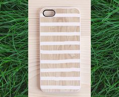 Wood iPhone 5 case, iPhone 4 case, iphone 4s case - white stripes