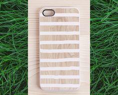 Wood iPhone 5 case, iPhone 4 case, iphone 4s case - white stripes