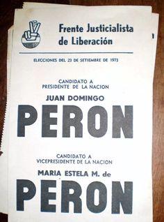 boleta electoral peron peron  frejuli 1973