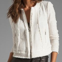 Rebecca Taylor white tweed jacket w/ leather trim Perfect flawless condition I have a stunning white tweed jacket, with leather trim. More gorgeous in person. Matching skirt to compliment the jacket suite piece. Size 10. Perfect condition Rebecca Taylor Jackets & Coats Blazers