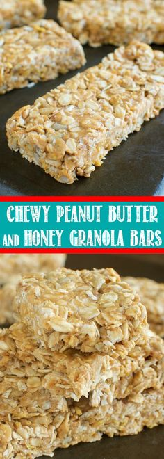 These Chewy Peanut Butter and Honey Granola Bars are the BEST! So easy to make with just 5 ingredients. They are no bake and ready to eat in 10 minutes!