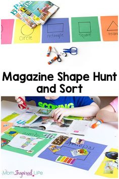 This magazine shape hunt is a hands-on way for kids to learn shapes, get scissor cutting practice, develop fine motor skills and work on sorting. It is also develops critical thinking skills and observation skills in an engaging, open-ended way. Preschool Learning Activities, Infant Activities, Toddler Preschool, Preschool Activities, Shape Activities, Dementia Activities, Physical Activities, Teaching Ideas, Learning Shapes