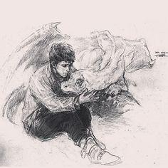 Merlin and Aithusa. Why didn't they get Aithusa and Kilgarrah together so the… Merlin Serie, Merlin Cast, Merlin Fandom, Merlin Colin Morgan, Merlin And Arthur, Superwholock, Film, Supernatural, Favorite Tv Shows