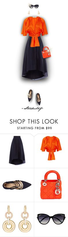 """""""Wear It...in Navy & Orange (Outfit Only)"""" by stardustnf ❤ liked on Polyvore featuring Trilogy, Diane Von Furstenberg, Nine West, Christian Dior, SPINELLI KILCOLLIN and La Perla"""