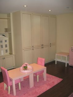 Pretty in pink. Playroom with plenty of storage. Convert into spare bedroom.