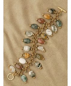 Jasper Charm Jump Ring Bracelet, Sova Enterprises