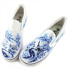Birds & Blooms Hand Painted Shoes DIY Custom Made Canvas Shoes -commodityocean.com