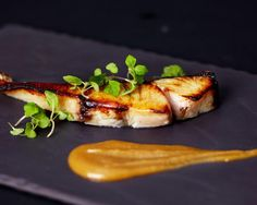 The Saikyo miso barramundi is served with a spicy wasabi sauce