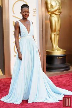Lupita Nyong'o's perfect pale blue dress at the Oscars 2014 | #lupita #oscars
