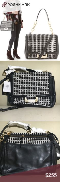"NWT Diane von Furstenberg Harper Charlotte Bag DvF ""Harper"" Charlotte Bag says Fall all over it! The ""Harper"" has such a classy and elegant look to it that you can use it at anytime of the day throughout the whole entire Fall and Winter season. Leather with check woven tweed accents. Golden hardware. Removable shoulder strap; 14"" drop. Flap front; magnetic closure. Open pocket under flap; back zip pocket. Snap-button gusset sides. Inside, fabric lining; 2 open and one zip pocket. 9 1/2""H x…"