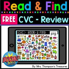 Decoding CVC words has never been more fun! Students will read the short vowel words, then search the picture cards to find the matching picture! Great for beginning readers to practice decoding CVC words. This free deck of Boom Cards™ includes 15 words that are a mix of the vowels for an engaging review of CVC words. #teacherspayteachers #free #boomlearning #cvc #beginningreader