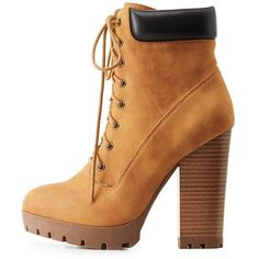 Charlotte Russe Lace-Up Lug Sole Combat Booties ($27) ❤ liked on Polyvore featuring shoes, boots, ankle booties, cognac, lace up ankle booties, chunky booties, military boots, cognac booties and combat booties