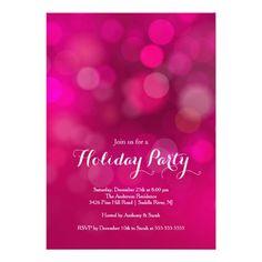 Modern Pink Bokeh Holiday Party Invitation