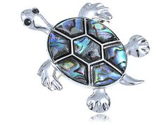 Silver Tone Abalone Shell Hawaiian Swimming Turtle Black Rhinestone Pin Brooch
