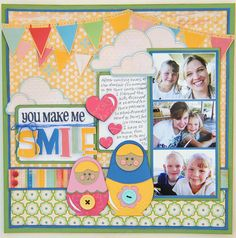 "This beautiful scrapbook layout, ""You Make me Smile"" was created by the talented Jana Eubank. We love the bright colors she used! #cricut"