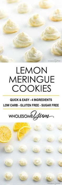 Easy Sugar-Free Lemon Meringue Cookies Recipe - See how to make meringue cookies that are healthy & delicious! These easy sugar-free lemon meringue cookies without cream of tartar need just 4 ingredients. #LowCarb #GlutenFree #cookies