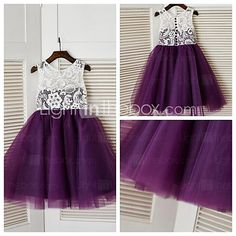 A-line Knee-length Flower Girl Dress - Lace / Tulle Sleeveless Jewel with 2017 - $52.24