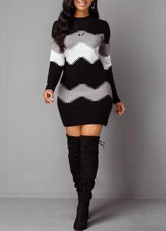 Mock Neck Chevron Pattern Long Sleeve Sweater Dress - Mock Neck Chevron Pattern Long Sleeve Sweater Dress Source by shopplans - Sweater Dress Outfit, Long Sleeve Sweater Dress, Dress Outfits, Casual Dresses, Fashion Outfits, Sweater Dresses, Briadsmaid Dresses, Cool Outfits, Casual Outfits
