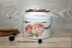 Купить Шкатулка круглая - разноцветный, шкатулка, Декупаж, состаренный стиль, шкатулка для украшений, деревянная шкатулка