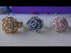 : Beaded Swarovski with miyuki seedbeads ring tutorial Bead Jewellery, Seed Bead Jewelry, Jewelery, Beaded Rings, Beaded Bracelets, Jewelry Crafts, Handmade Jewelry, Ring Tutorial, Diy Rings