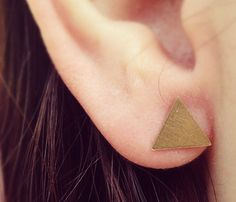Tiny Triangle Earrings    I AM SO GETTING ONE OF THEEESE :)