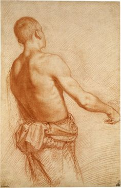 Jacopo Chimenti (1551–1640) Young Man Seen from the Back Red chalk on paper