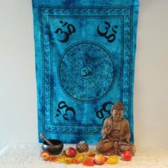 Altar cloths can be used in your favourite seasonal ceremonies or as more permanent use in the home. Great for wall hangings, divination readings or table cloths! Om is a symbol of peace and tranquillity. In Hindu and Buddhist beliefs OM is the first sound of creation – it is a sound, a breath, used in steady repetition in meditation to find enlightenment. Handcrafted cotton in India, Length: 118cm, width 75cm. $16.00au. Buddhist Beliefs, Altar Cloth, Human Condition, Hinduism, Wall Hangings, Your Favorite, Cloths, Om, Meditation