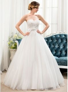 Ball-Gown Sweetheart Floor-Length Organza Satin Lace Wedding Dress With Beading Sequins Bow(s) (002054360) - JJsHouse