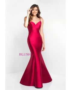 Blush Open Back Mermaid Gown