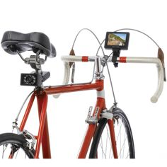 """The Bicycle Rearview Camera.  This is the camera system that mounts to a bicycle for providing a clear view of the road behind. The 2 1/4"""" W x 1 1/2"""" H camera mounts to a bicycle's seat post, provides a rear-facing 75º field of view ideal for seeing approaching vehicles or other cyclists. A 78 3/4"""" zip-tied cable that accommodates any frame geometry connects the camera to the handlebar-mounted 3 1/2"""" TFT color monitor (fits bars up to 1 1/4"""" diameter)"""