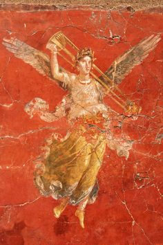 Winged victory. Ancient Roman frescos from Pompeii in the 4th Pompeian style, Italy, 64 BC