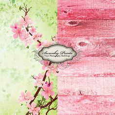 COMBO 5ft x 5ft Vinyl Photography Backdrops / Cherry Tree and Pink Washed Wood TWO BACKDROPS