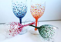 Hand Painted Polka Dot Wine Glasses. Set of 4 (also sold by color, see other listings). Perfect for a warm spring or summer day! OR even better yet... for a bridal party or wedding gift. Bridesmaids name can be added on each glass making a very memorable gift. They can also be given as an anniversary gift, birthday gift, Christmas gift or just because.....  These glasses have been painted with special glass paint and baked to ensure dishwasher resistance.  Glass Dimensions: 10.5oz 7in Tall X…