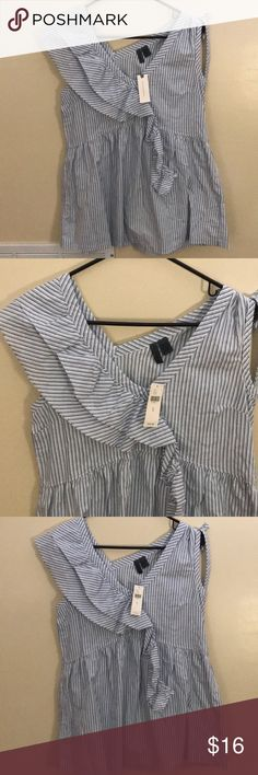 Anthropologie Asymmetrical Ruffle Top Blue and white top from anthropologie brand left of center. NWT Anthropologie Tops Blouses