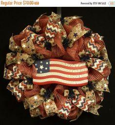 ON SALE Patriotic RWB Wreaths Memorial or Labor by wreathsbyrobin