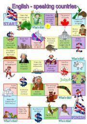 English worksheet: English-speaking countries board game