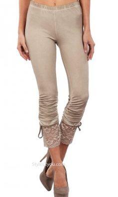 Garnet LARGE Lace Trim Knit Pants Ruche Detail Beige Seduzione