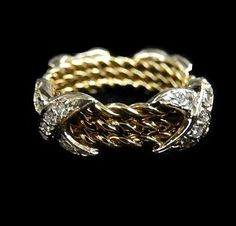 DIAMOND X RING by HPSJEWELERS on Etsy
