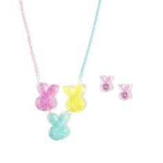 Glitter Bunny Necklace and Earrings Set