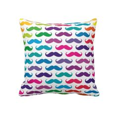 Mustache pillow?! I gotta have this. Love it especially the rainbow color.