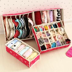 Non woven clothes storage  underwear bra storage box  panties socks four pieces for one set storage-inStorage Boxes & Bins from Home & Garde...