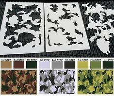 Stencil Size: x / x the material and thickness of the stencil. the size of the stencil. Camo Stencil, Stencil Diy, Bow Template, Stencil Templates, Old English Alphabet, Camouflage, How To Paint Camo, Information Art, Airsoft