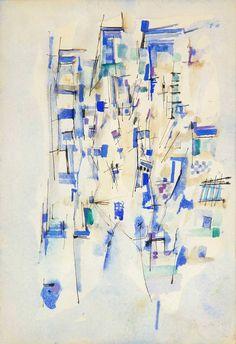 Maria Helena Vieira da Silva (Portugais-Français, 1908-1992) Composition, 1952 Aquarelles et encre sur papier, 27,9 x 19,3 cm